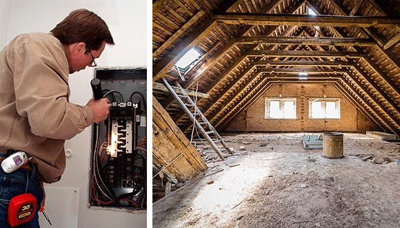 Home maintenance inspections. Pictured: Home inspector inspecting an electrical box and an attic space.